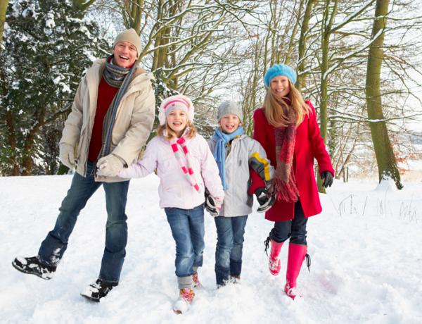 Family on winter walk